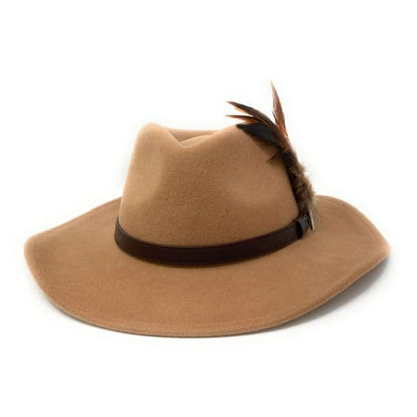Wide Brimmed Fedora Hat with Removable Country Feather Brooch - Farmington